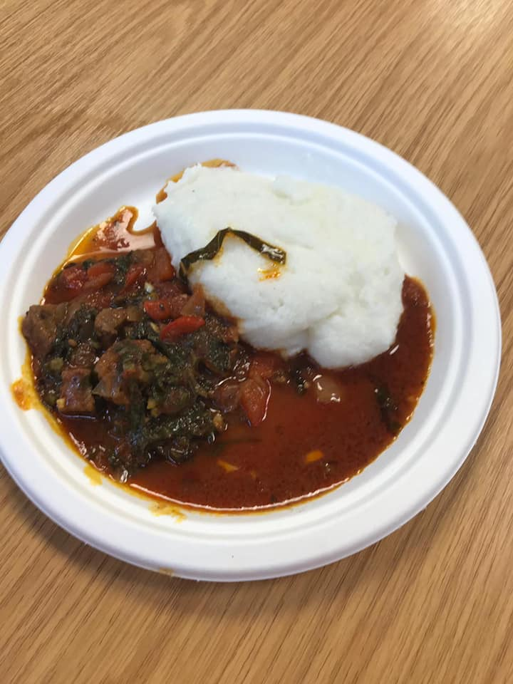 A warming plate of stew, served with pap/maize porridge